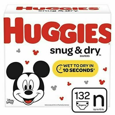 Huggies Snug & Dry Baby Diapers, Size Newborn (fits up to 10 lb.), 132 Count, Gi