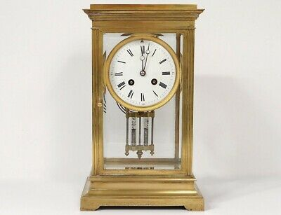 Pendulum Cage Brass Golden Glasses Bevelled Japy Frères French Clock 19th