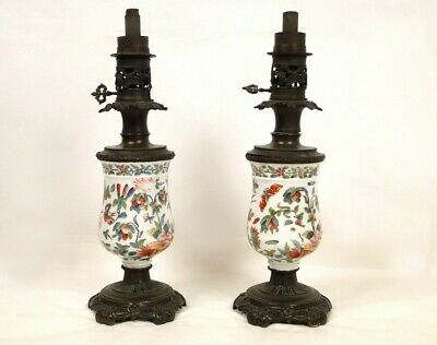 Pair of Lamps in Oil, Porcelain Chinese, Xixth