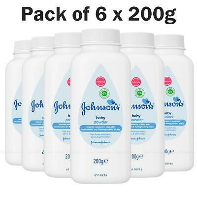 Johnson's Baby Powder Talc Talcum Soft Skin Care Protect Bottles Pack of 6x200g