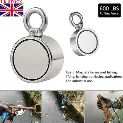 UK Round Double Sided Super Strong Neodymium Fishing Magnet 600LB Pulling Force