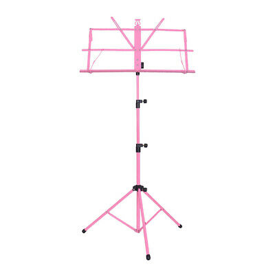 Durable Height Adjustable Sheet Music Stand Folding Foldable, Pink