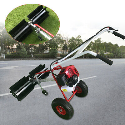 43Cc Walk Behind Gas Power Broom Sweeper Cleaner Driveway Artificial Grass Snow