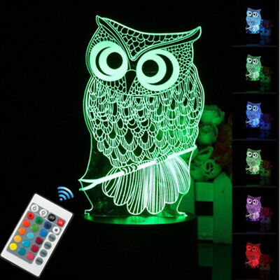 3D Table Lamp Owl  Change color Controller Remote control Night Light LED Light