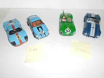 1:24 & 1:27 Scale Assembled plastic kits. racing cars x 4. Good Cond. No boxes