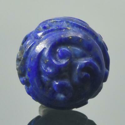 Carved Natural Blue Lapis Lazuli Round 12.55 mm Bead Carving 2.67 g Handmade
