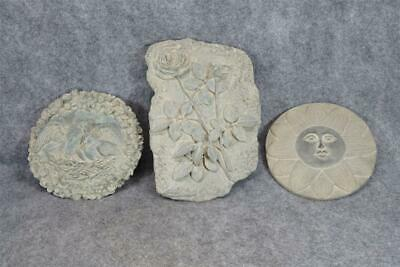 Wall Plaques Poured Imitation Stone Set Of 3 Flower, Bird And Sun