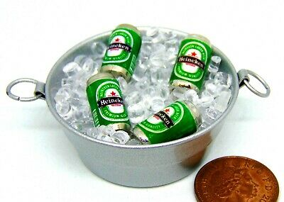 1:12 Scale 4 Beer Cans With Ice In A Tub Tumdee Dolls House Miniature BBQ Drink