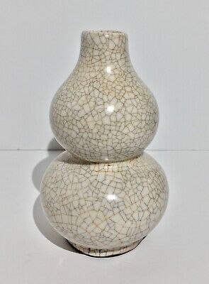 Antique Chinese Qing Dynasty Guan Ware Crackle Glaze Double Gourd Vase