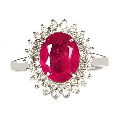 2.45CT Natural Red Ruby & EGL Certified Diamond Ring in 14KT Finest White Gold