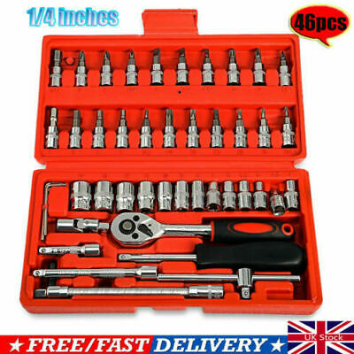 "46PC 1/4"" Auto Car Repair Tool Set Ratchet Combo Bits Socket Combination Wrench"