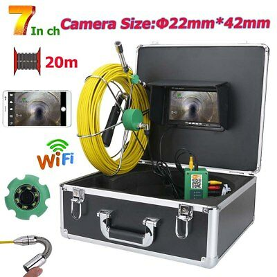 """7"""" WiFi Wireless 22mm Industrial Pipe Sewer Inspection Video Camera System IP68"""
