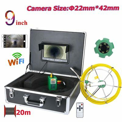 """9"""" WiFi Wireless 22mm Industrial Pipe Sewer Inspection Video Camera System IP68"""