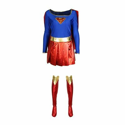 Adult Women Supergirl Superhero Costume Fancy Dress Comic Party Halloween Outfit