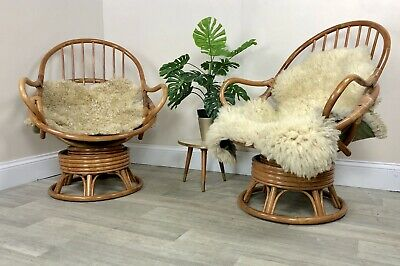 Magnificent Pair Vintage Bamboo Swivel Seat Egg Shape Arm Chair Retro Pabps2019 Chair Design Images Pabps2019Com