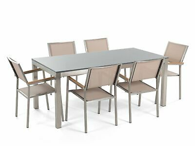TABLE 180, 6 chaises, Ensemble de jardin en aluminium, Table ...