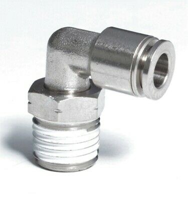 """1pc Push in Connect One Touch 1/8""""OD x 1/8""""NPT Male 90°Elbow Fitting BMTL1/8-N01"""