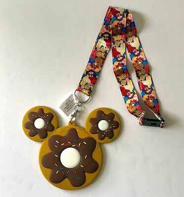 Disney Parks Sweet Treats Mickey Mouse Donut ID Card Holder Lanyard Tag NWT