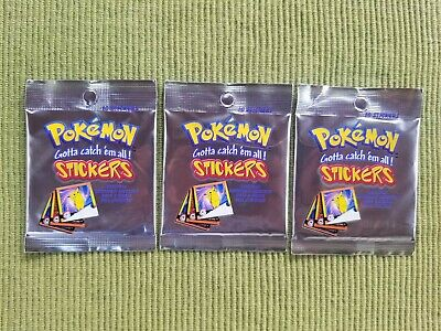 VINTAGE POKEMON Unopened Stickers Packs Series 1 - 3 pack lot - 1998 - Free S/H