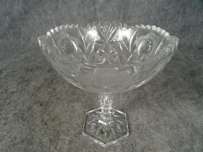 Crystal Compote Fruit/Nut Or Candy Dish With Etched Floral Design