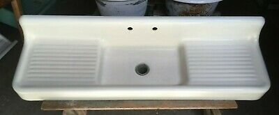 "Antique 79"" Cast Iron White Porcelain High Back Kitchen Farm Sink Vtg 181-19E"