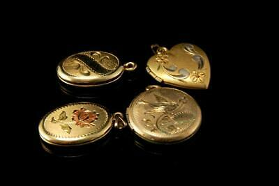 4 Old Collection Of Gold Filled Engraved Bird Flower Lockets A50918