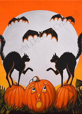 ACEO Halloween folk art print CATS AND BATS black orange JOL vintage style DC