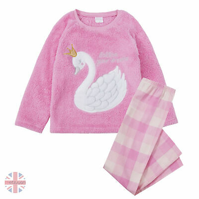 Childrens Girls Pink Swan Snuggle Top Woven Pant Pyjama Set 2 Piece 7-13 Years