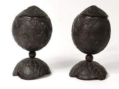 Pair of Coconut Carved Cuts Guyana Boats Landscape Convict 19th