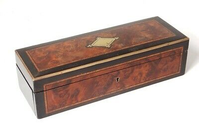 Box in Gloves Marquetry Burr Walnut Wood Blackened Brass Napoleon III Xixè