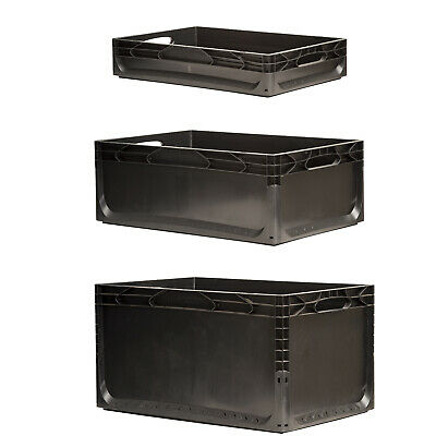 Heavy Duty Black Plastic Stacking Euro Storage Boxes with Handles