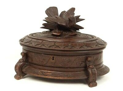 Boxset Jewelry Box Wood Carved Black Forest Bird Napoleon III 19th
