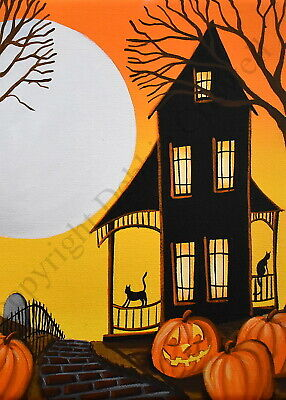ACEO Halloween folk art print PUMPKIN CATS black cat JOL haunted house moon DC