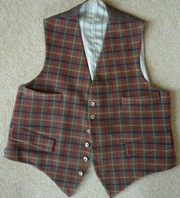 Vintage Brown Equestrian/Country Style Wool Check Waistcoat Size M
