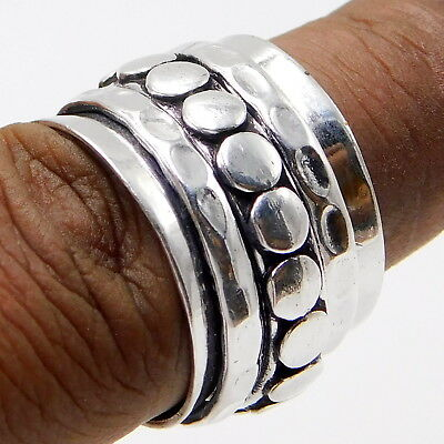 925 Sterling Silver Plated Meditation Spinner Wide Band Yoga Spinner Ring all S