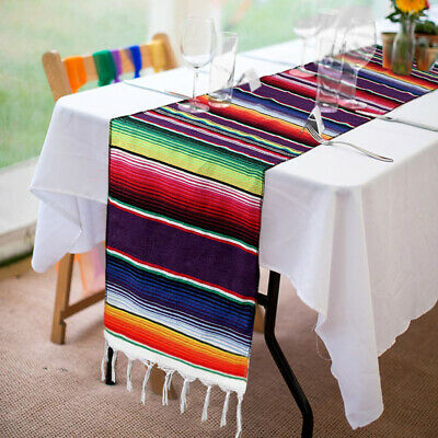 Mexican Serape Table Runner Fringe Striped Tablecloth Fiesta Party Decor 14x84''