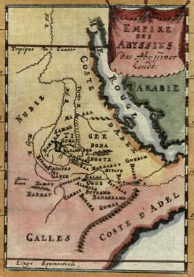 East Africa Empire of Abyssinia Ethiopia Nile Source 1719 Mallet miniature map