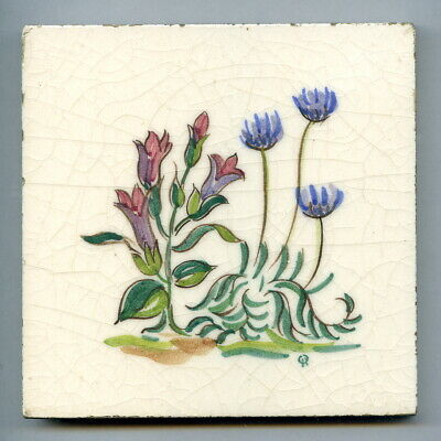 """Handpainted 4""""sq tile from the """"Wild Flowers"""" series by Packard & Ord, c1950"""