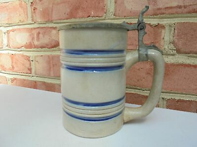 Antique 19th C Stoneware Cobalt Decorated Striped Tavern Mug Stein Pewter Lid #2