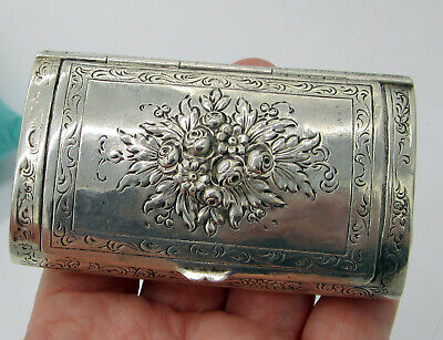 Estate Antique Sterling Silver Hinged Flower Tobacco 78.6 Gram Pill Snuff Box