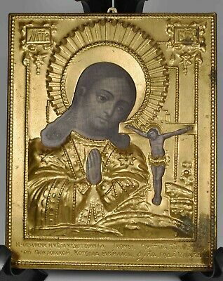 "ANTIQUE PAINTED MARY AND JESUS BRONZE RUSSIAN ICON WOOD PICTURE FRAME - 5"" x 4"""