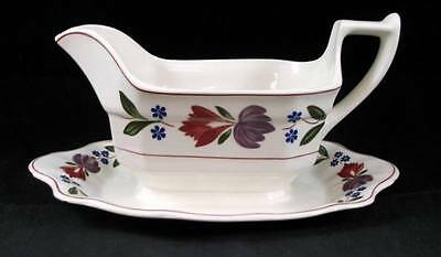Adams OLD COLONIAL Gravy Boat w/attached Underplate Current Backstamp A+