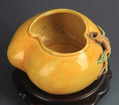Antique Chinese Yello Peach Shape Water Jar. Qing Dynasty.