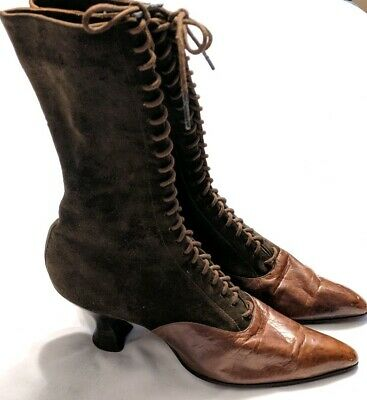 Antique 1800s Ladies Boots Witch Old West Victorian 2 Tone Brown Suede Original