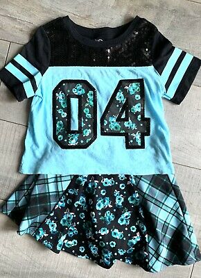 Justice Girls Size 7 8 Outfit Top Shirt Skirt Flower Plaid Embellished