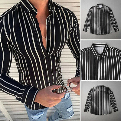 Mens Long Sleeve Casual Striped Button Shirt V-Neck Fashion Slim Fit Blouse Tops