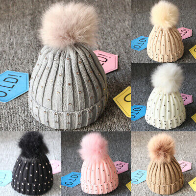 Newborn Baby Boys Girls Winter Warm Double Fur Pom Bobble Knit Beanie Hats Cap