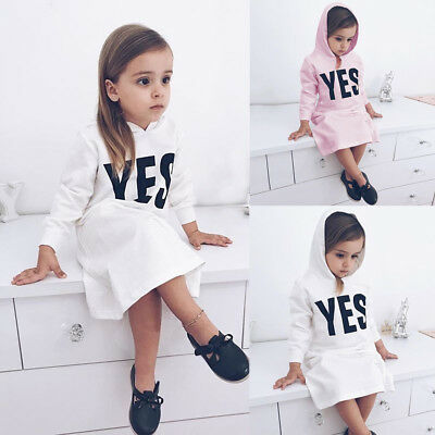 Toddler Infant Kids Baby Girls Hooded Letter Sweatshirts Pullover Dress Clothes