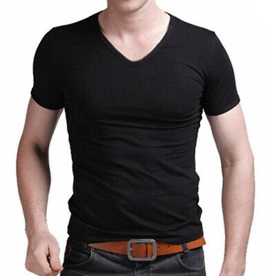 NEW Men's Summer Casual Cotton Short Sleeve V-neck T-Shirt Tops Slim Fit Size