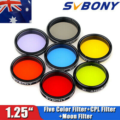 "SVBONY 1.25""Eyepiece Filter Set Colored Planetary &Moon Telescope Filters Kit AU"